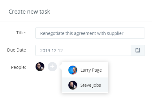 Create tasks for suppliers